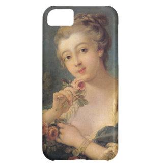 Jeune femme avec un bouquet des roses coque iPhone 5C