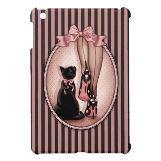 Jeune femme élégante et chat noir coque pour iPad mini