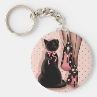Jeune femme élégante et chat noir porte-clés