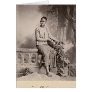 Jeune fille birmanne, c.1880 carte de vœux