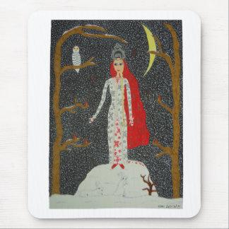 Jeune fille de neige (version rouge) Mousepad Tapis De Souris