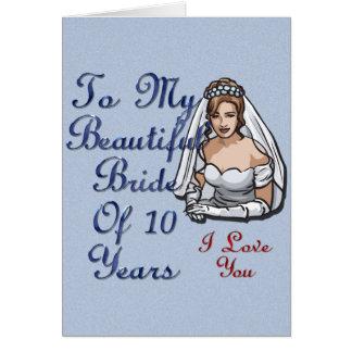 Jeune mariée de 10 ans carte de vœux