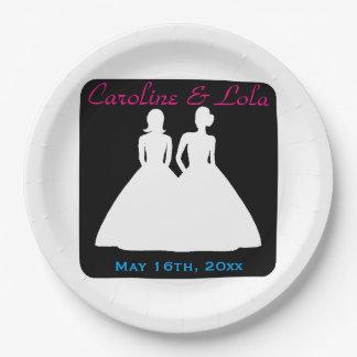 Jeune mariée et mariage lesbien de jeune mariée assiettes en papier