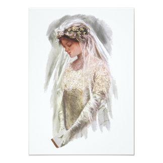 Jeune mariée victorienne vintage avec la bible carton d'invitation  12,7 cm x 17,78 cm