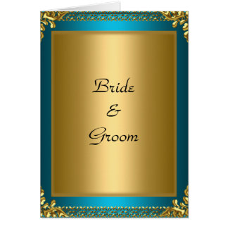 Jeunes mariés de Teal d'or de mariage Carte De Vœux