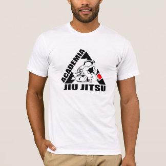 Jiu-jitsu gainé court blanc de T-shirt de