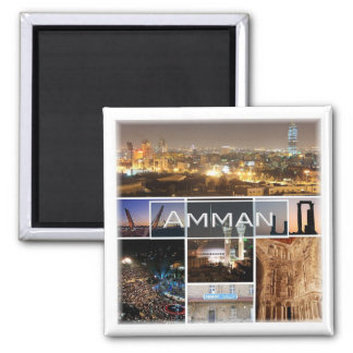 JO * Panorama de la Jordanie - d'Amman Magnet Carré