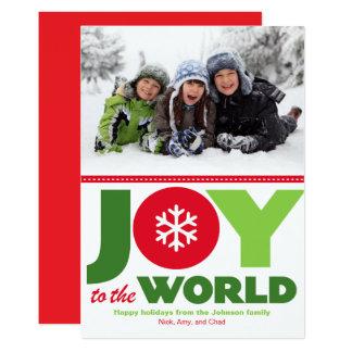 Joie à la photo rouge et verte du monde de carton d'invitation  12,7 cm x 17,78 cm
