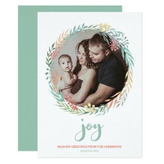 Joie - photo de menthe rustique de vacances de carton d'invitation  12,7 cm x 17,78 cm