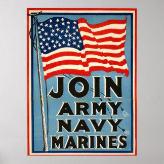 Joignez l'armée, marine, marines WPA 1917 Poster