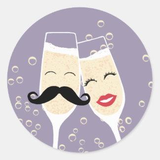 Joint de pain grillé de Champagne de mariage Sticker Rond