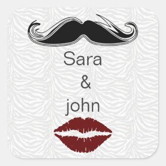 joint d'enveloppe de rayures de zèbre de baiser et sticker carré