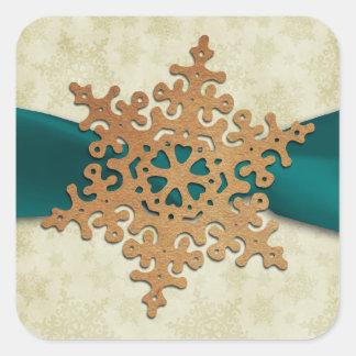 joint rustique d'enveloppe de flocon de neige sticker carré