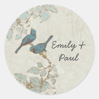 Joint turquoise vintage de mariage d'oiseau sticker rond