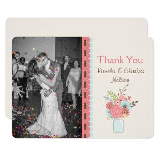 Joli carte de remerciements de mariage de photo de