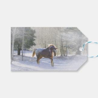 Joli cheval dans les étiquettes de cadeau de Noël
