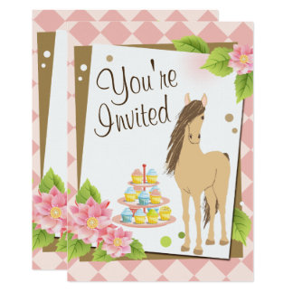 Joli cheval de Brown, invitation rose