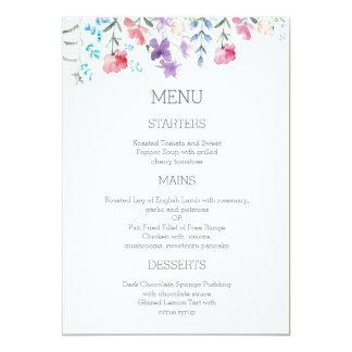 Joli menu de mariage du jardin 5x7 des fleurs carton d'invitation  12,7 cm x 17,78 cm