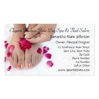 Joli salon fuchsia de pédicurie de rose de rose carte de visite standard