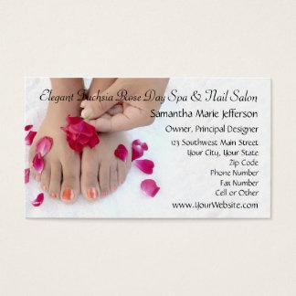 Joli salon fuchsia de pédicurie de rose de rose cartes de visite