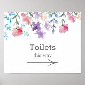 Joli signe de toilettes de mariage de jardin des poster