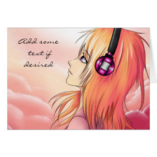 Jolie fille d'anime écoutant la carte de musique