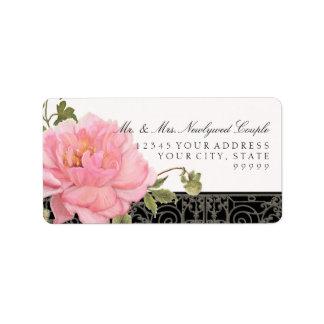 Jolie typographie vintage élégante d'art de fleur étiquette d'adresse