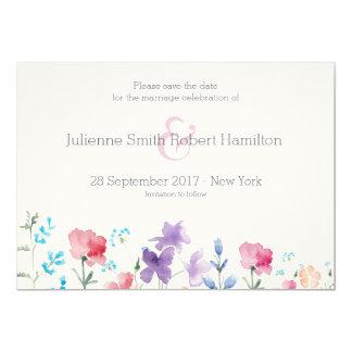 Jolies économies rustiques des fleurs sauvages | carton d'invitation  12,7 cm x 17,78 cm