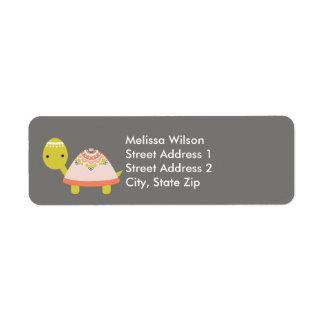 Jolis étiquettes de adresse de retour de tortue