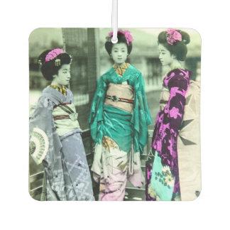 Jonge Geisha vintage Drie in Oud Japan Auto Luchtverfrissers