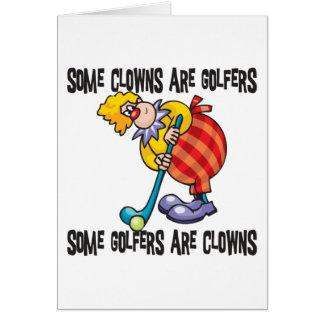 Jouer au golf drôle de clown de golf carte de vœux