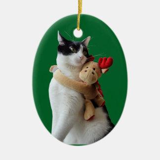 Jouet de Noël de chat blanc et noir et de renne Ornement Ovale En Céramique