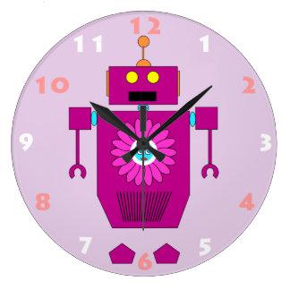 JOUET de ROBOT AVEC l'horloge murale d'enfants de Grande Horloge Ronde