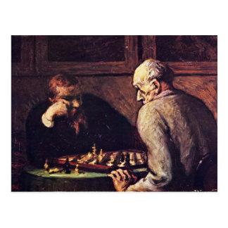 Joueurs d'échecs par Daumier Honoré Carte Postale