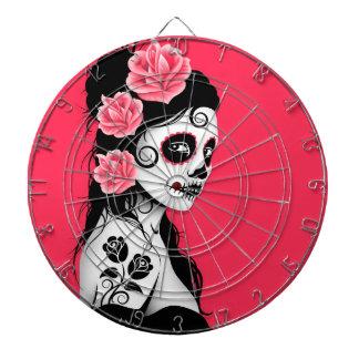 Jour de la fille morte de crâne de sucre - rose jeu de fléchettes