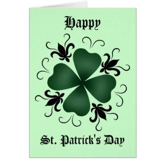 Jour de la Saint Patrick de fantaisie de shamrock Carte