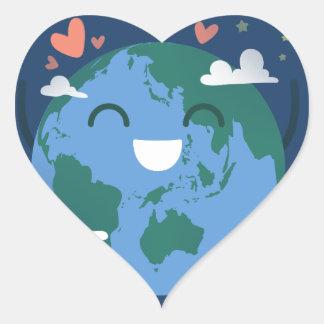 jour de la terre mignon sticker cœur
