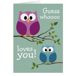 Jour de mères - hiboux mignons carte de vœux