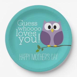 Jour de mères - hiboux mignons - Whooo vous aime Assiettes En Papier