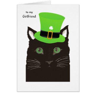 Jour de Patricks de saint pour le chat noir d'amie Carte De Vœux