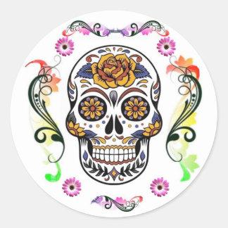 Jour des morts - autocollant floral de crâne