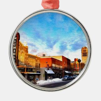 Jour d'hiver à Ann Arbor Ornement Rond Argenté