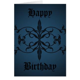 Jour gothique bleu de fantaisie d'anniversaire à carte de vœux