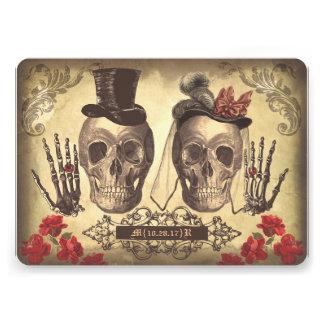 Jour gothique de couples de crâne de l'invitation