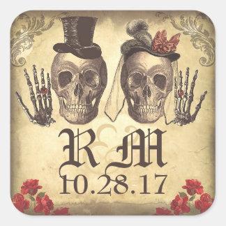 Jour gothique de couples de crâne des autocollants