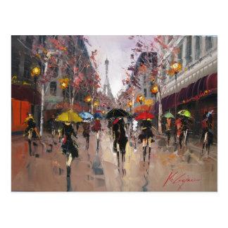 Jour pluvieux à Paris Cartes Postales