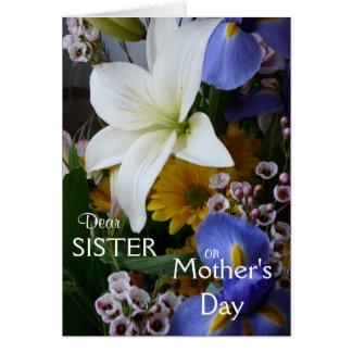 Jour-Soeur-Joli floral de la mère heureuse Carte