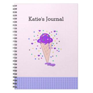 Journal de crème glacée de confettis