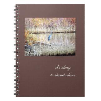 Journal debout de héron bleu seul