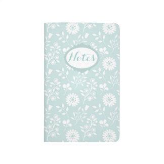 Journal floral turquoise pâle de poche de motif